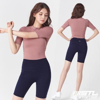 韓國 STL Yoga leggings FREE LINE 5『無尷尬線+高腰』韓國瑜珈 訓練拉提 自由曲線緊身5分短褲 墨水藍Navy