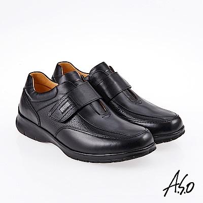 A.S.O 霸足氣墊 魔鬼氈油感氣墊休閒皮鞋 黑
