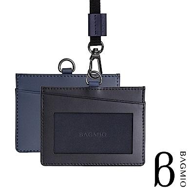 BAGMIO duet 雙色牛皮橫式3卡證件套 黑藍 附織帶