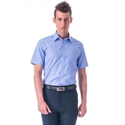 金‧安德森 藍底白條紋窄版短袖襯衫fast