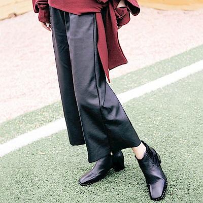 IREAL 歐美系穿搭 ‧ 九分皮質寬褲