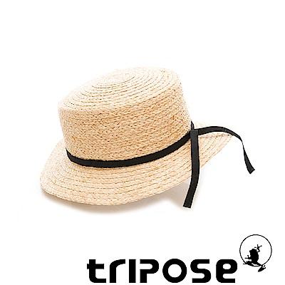 tripose 甜美簡約-100% Raffia入門款平頂細飾帶草帽(飾帶-黑色)