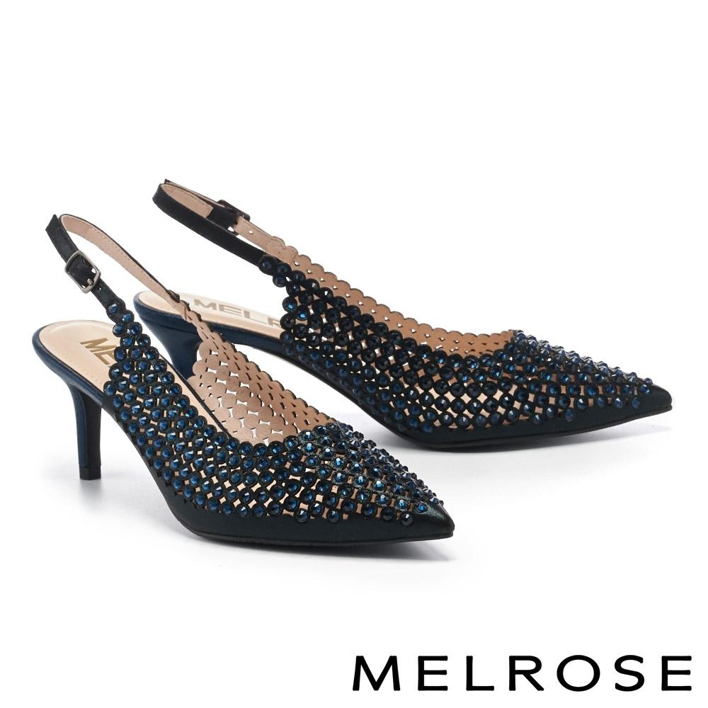 高跟鞋 MELROSE 亮麗時髦金屬感鏤空水鑽尖頭高跟鞋-黑