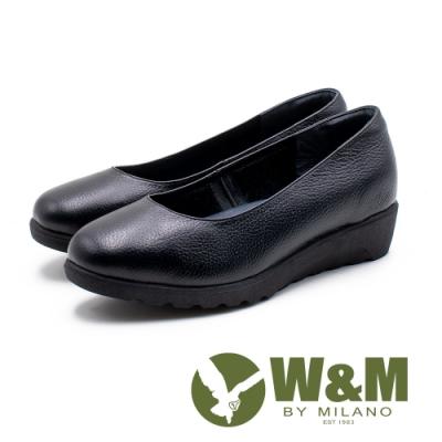 W&M 精緻厚底 圓頭真皮皮鞋 女鞋-黑