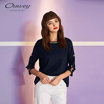 OUWEY歐薇 釘珠裝飾連袖造型上衣(藍/綠)