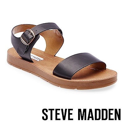 STEVE MADDEN-PROBABLE-金屬扣平底涼鞋-黑色