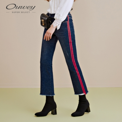 OUWEY歐薇 運動風織帶彈力微喇褲(藍)
