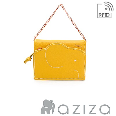 aziza 可拆式鍊帶短夾 黃色