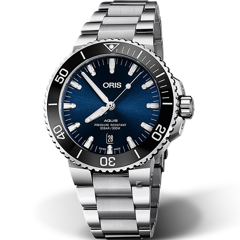 Oris豪利時Aquis時間之海300米潛水機械錶-藍/43.5mm