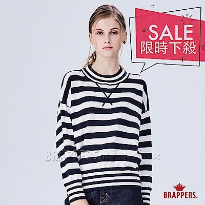 BRAPPERS 女款 配色條紋線衫-藍白條