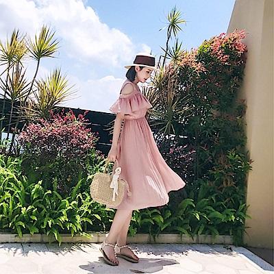 DABI 韓國風純色夏季新款純色吊帶雪紡短袖洋裝