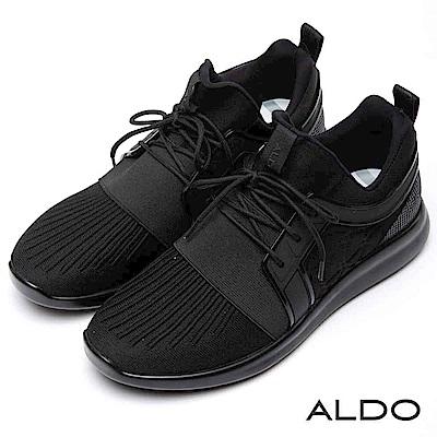 ALDO 原色黑幾何造型異材質拼接綁帶式休閒男鞋~尊爵黑色