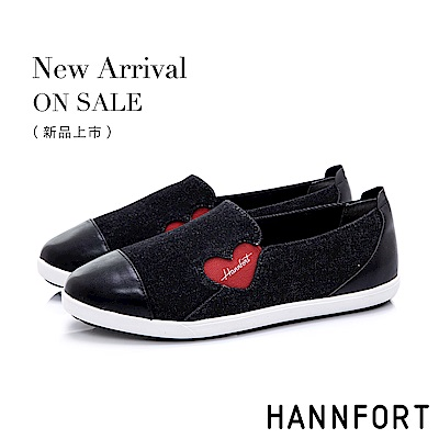 HANNFORT CALIFORNIA 愛心丹寧輕量休閒鞋-女-黑
