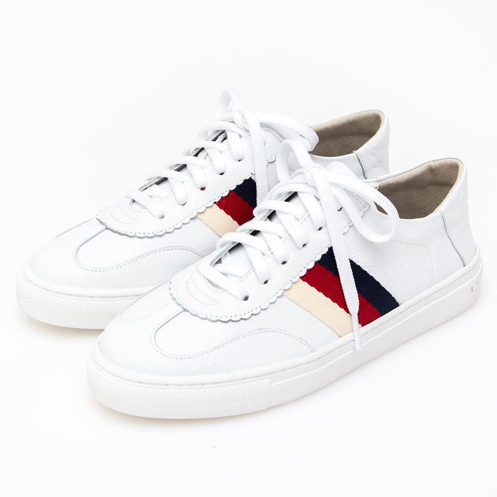Camille's 韓國空運-牛皮側配色織帶綁帶休閒鞋-白色