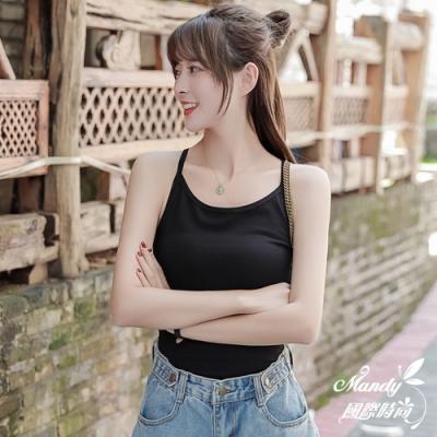 Mandy國際時尚 無袖上衣 性感細肩帶後挖洞純棉背心(2色) 【韓國服飾】