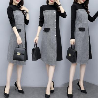 【韓國K.W.】OL簡約撞色輕薄暖洋裝-1色