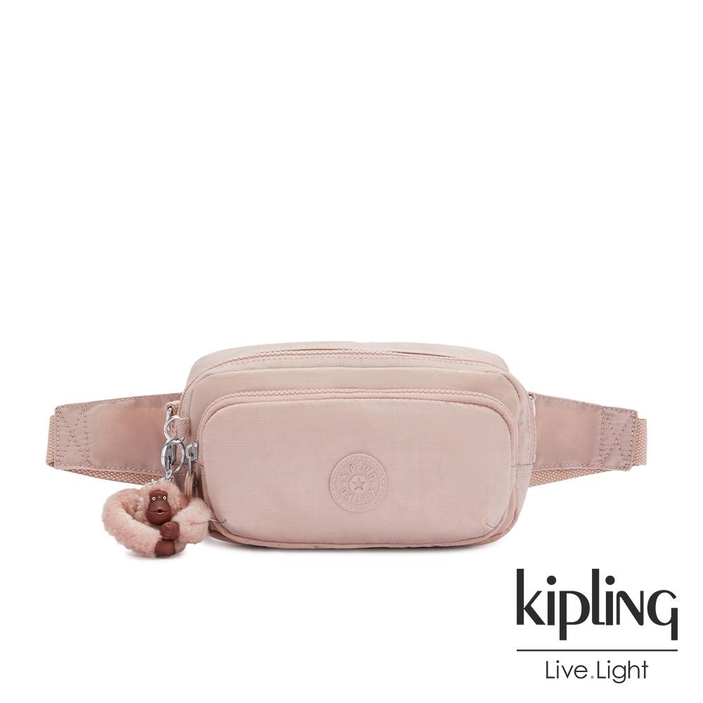 Kipling 氣質玫瑰粉雙層隨身腰包-HOPE