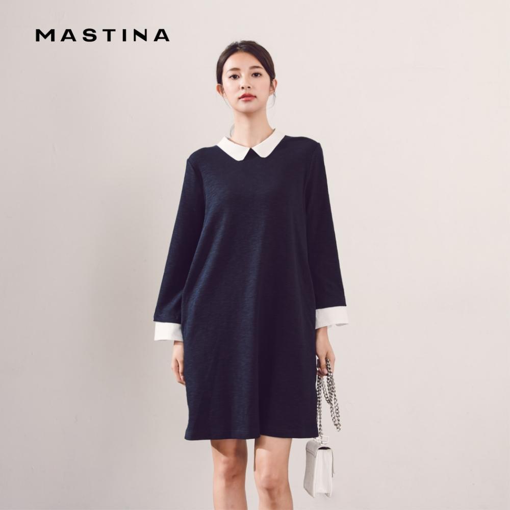 【MASTINA】設計款襯衫領長版-洋裝(二色)