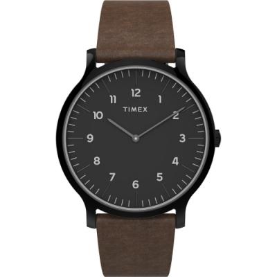 TIMEX 天美時 復刻系列 極簡復古手錶-黑x咖啡/40mm