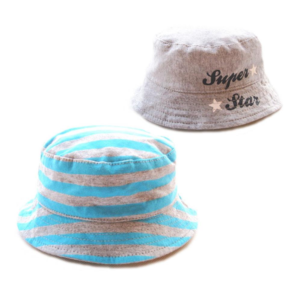 歐美原創設計-男童灰藍條紋雙面漁夫帽