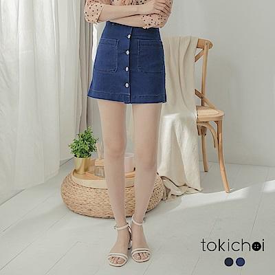 東京著衣 清新可愛彈性A字排扣牛仔短裙-S.M.L(共兩色)