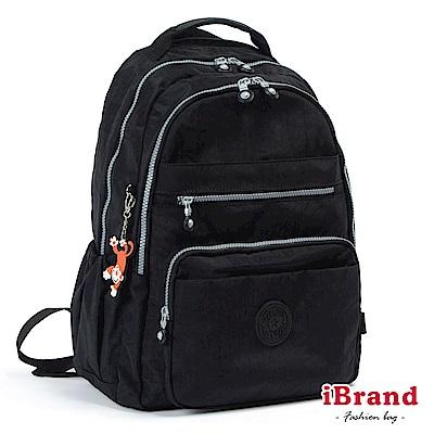 iBrand後背包 經典百搭超輕盈多口袋後背包-百搭黑