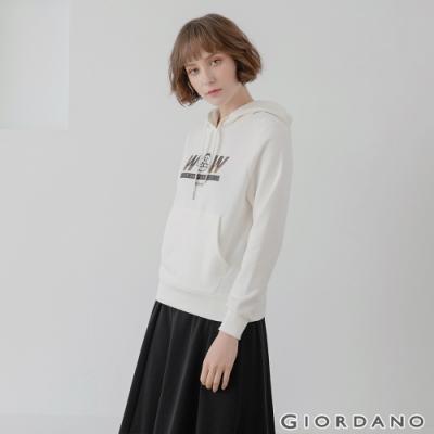GIORDANO  女裝CHECKS連帽T恤 - 01 皎雪