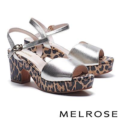 涼鞋 MELROSE 狂野潮流繫帶造型羊皮高跟涼鞋-金
