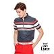 【Lynx Golf】男款條紋合身剪裁短袖立領POLO衫-鐵灰色 product thumbnail 2