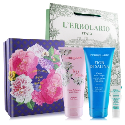 *L ERBOLARIO蕾莉歐 保濕潤膚霜禮盒(櫻花樹+沁藍海鹽200mlX2)附提袋+贈尤加利樹霜