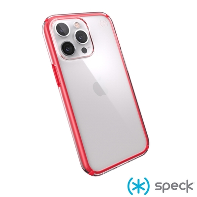 Speck iPhone 13 Pro Presidio Perfect-Clear Geo透明防摔殼-紅框