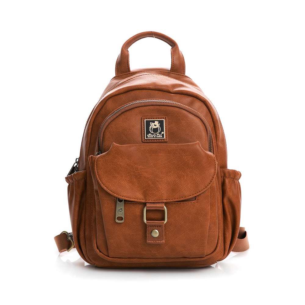 SharPei沙皮狗-城市漫遊x單肩兩用造型後背包-拿鐵棕