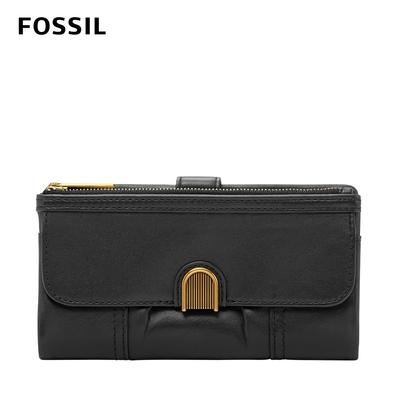 FOSSIL Cora 掀蓋釦式手拿長夾-黑色 SL6464001