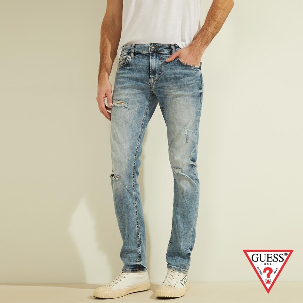 GUESS-男裝-水洗刷破仿舊直筒牛仔褲-藍 原價2990