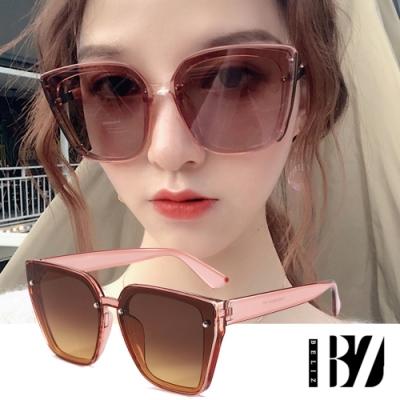 BeLiz 貓眼大方框 銀鉚釘膠框太陽墨鏡 透明粉棕