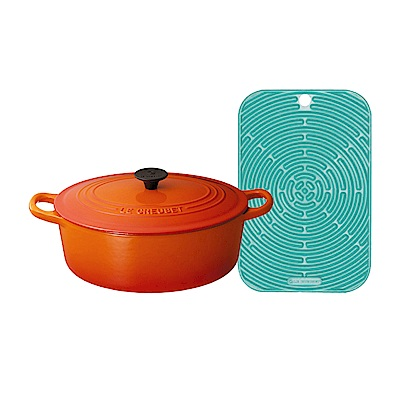 LE CREUSET 琺瑯鑄鐵橢圓鍋 23cm(火焰橘)+耐熱矽膠長方隔熱墊(薄荷綠)