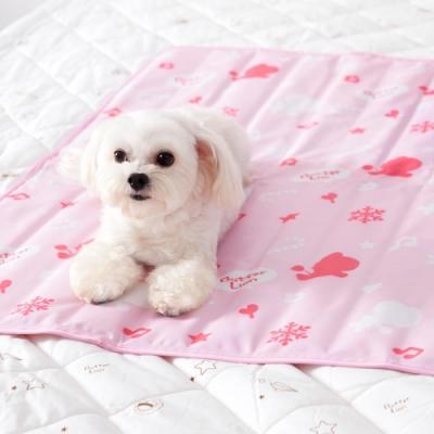 奶油獅-雪花樂園-長效型降6度涼感冰砂冰涼墊(90x90cm)大型寵物涼墊-粉色(二入)