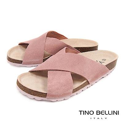 Tino Bellini 西班牙進口簡約真皮交叉平底涼拖鞋 _ 粉