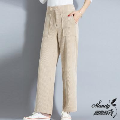 Mandy國際時尚 長褲 冬 復古燈芯絨高腰直筒寬褲(3色)【韓國服飾】