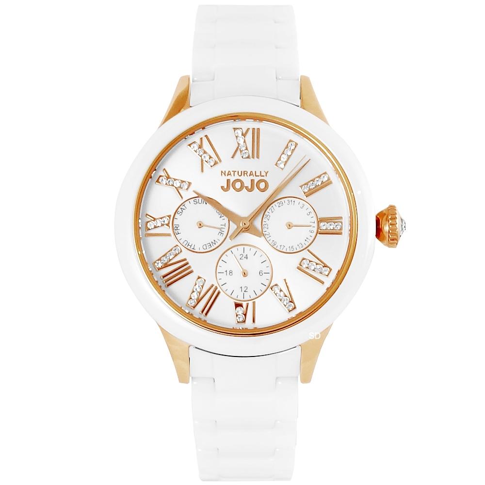 NATURALLY JOJO 羅馬晶鑽陶瓷手錶-白X玫瑰金/39mm