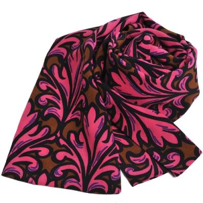 MIU MIU 壓花圖騰絲質長領巾(咖啡底/桃紅)-展示品出清