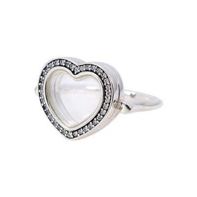 Pandora 潘朵拉 閃亮心形吊墜盒戒指 925純銀戒指