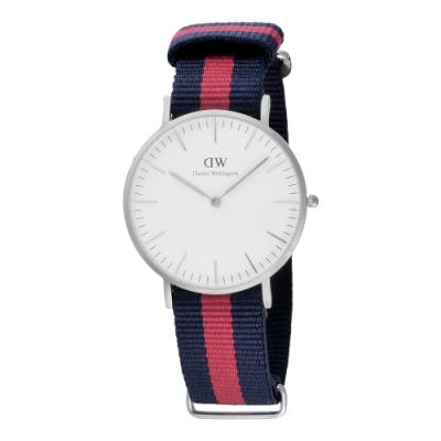 Daniel Wellington Oxford 時尚女錶-銀框白x藍紅帶