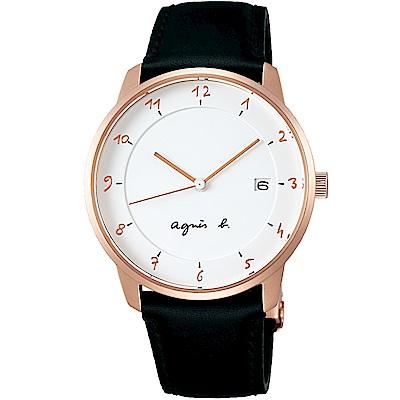 agnes b.法式風情簡約薄型腕錶(BS9001J1)-白X玫瑰金色/38mm