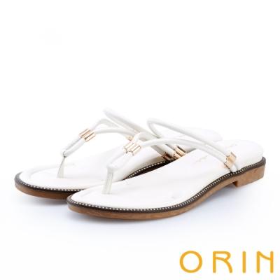 ORIN 流線細版皮革平底夾腳拖鞋 白色