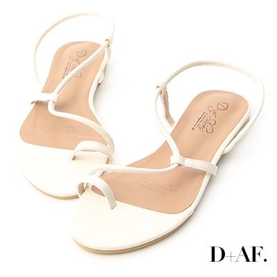 D+AF 古著涼夏.圓弧細帶套指平底涼鞋*米