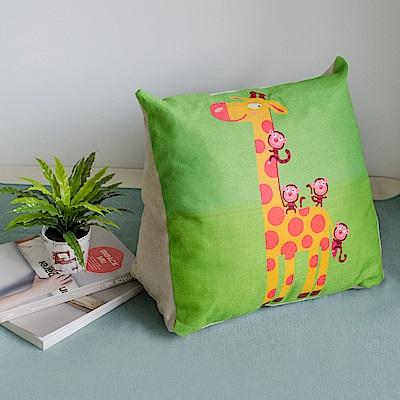 【收納職人】Zakka日系雜貨風棉麻織紋舒壓三角抱枕/靠枕/腿枕(長頸鹿)