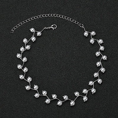 iSFairytale伊飾童話 珍珠流星雨 波浪白銀交錯鎖骨短頸鍊