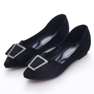 A one 尖頭梯型鑽飾麂皮絨內增高平底包鞋 -黑色