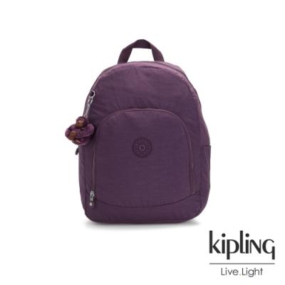 Kipling 低調奢華深紫色前拉鍊後背包-CARMINE